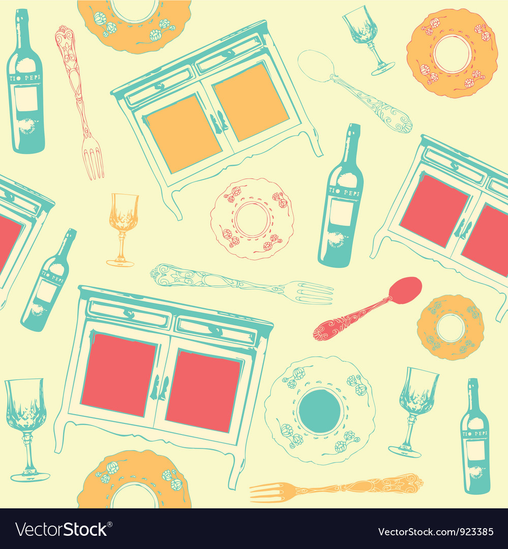 Vintage dinner wine pattern vector | Price: 1 Credit (USD $1)