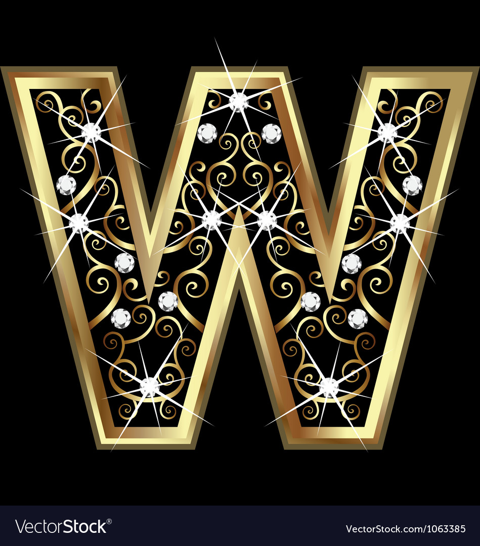 W gold letter with swirly ornaments vector | Price: 1 Credit (USD $1)