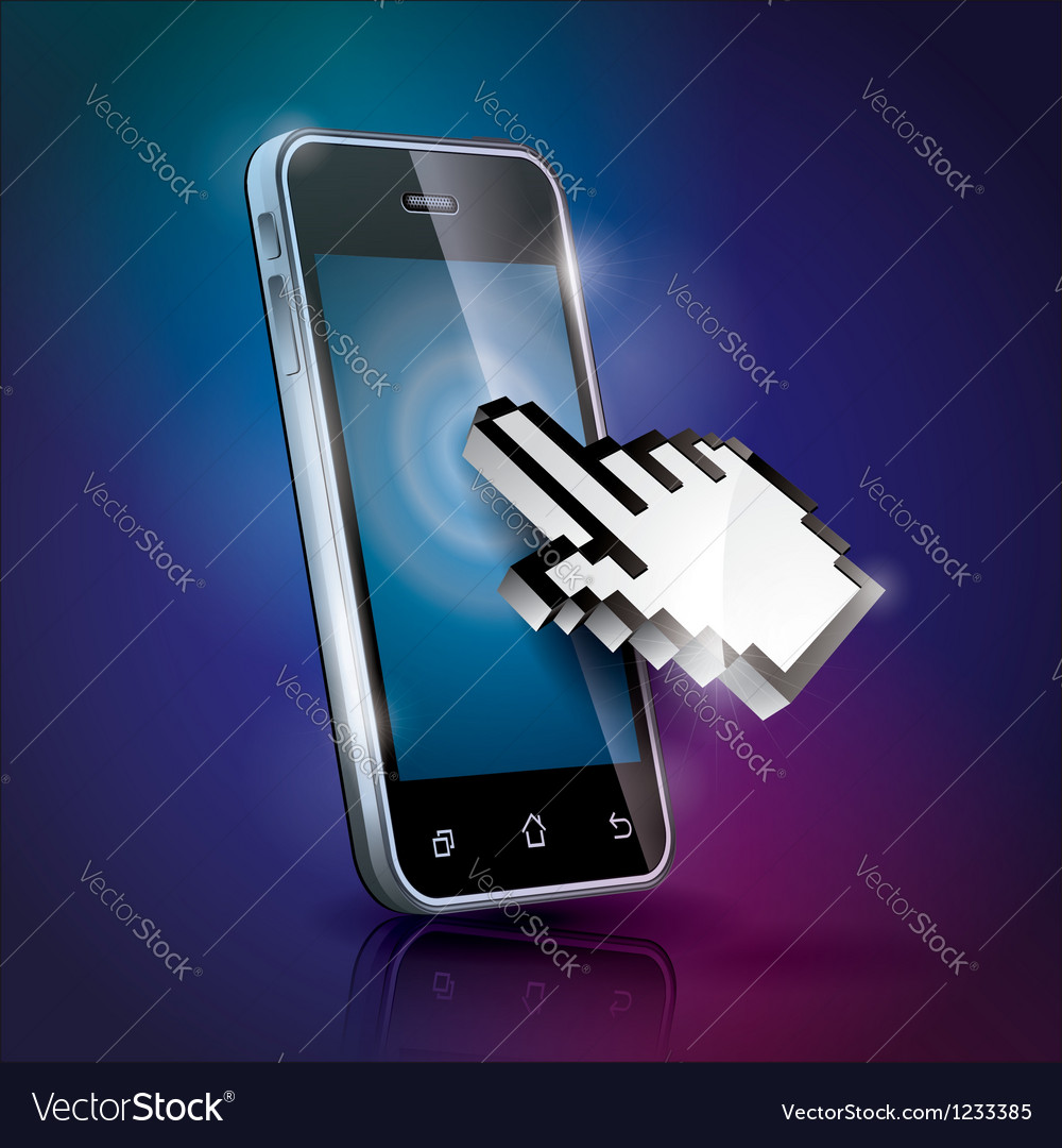 With shiny touchscreen mobilephone vector | Price: 3 Credit (USD $3)