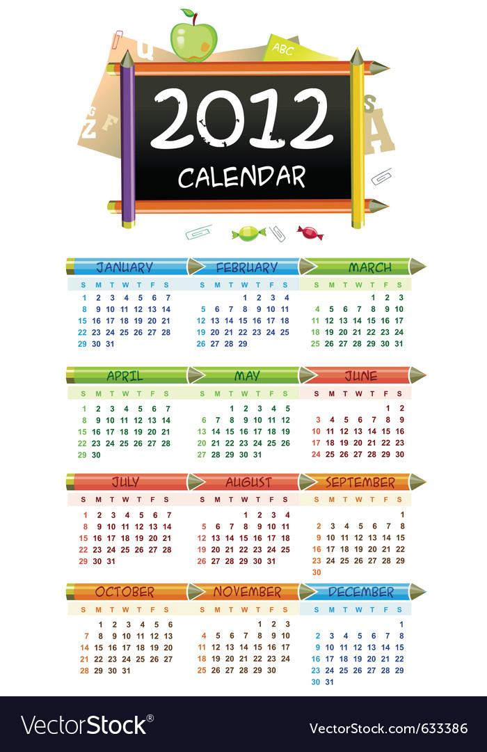 2012 educational calendar vector | Price: 1 Credit (USD $1)