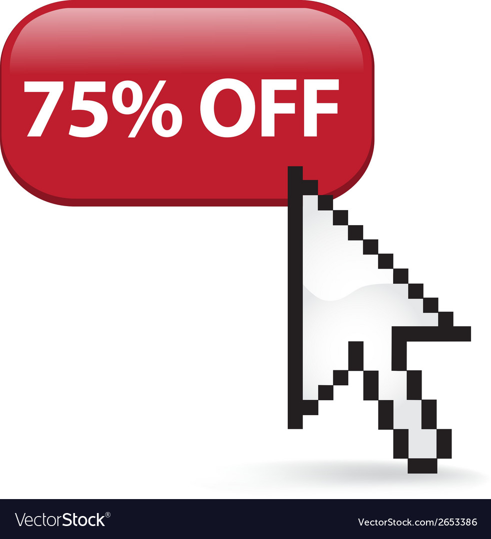75 off button click vector | Price: 1 Credit (USD $1)