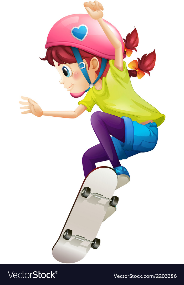 A lady with a pink helmet skateboarding vector | Price: 1 Credit (USD $1)
