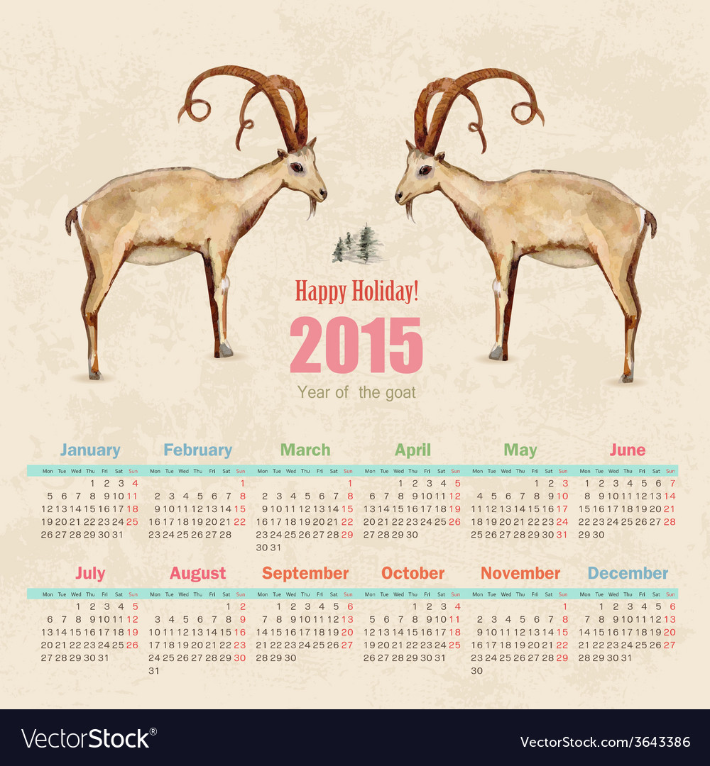 Calendar for 2015 watercolor painting of goat vector | Price: 1 Credit (USD $1)
