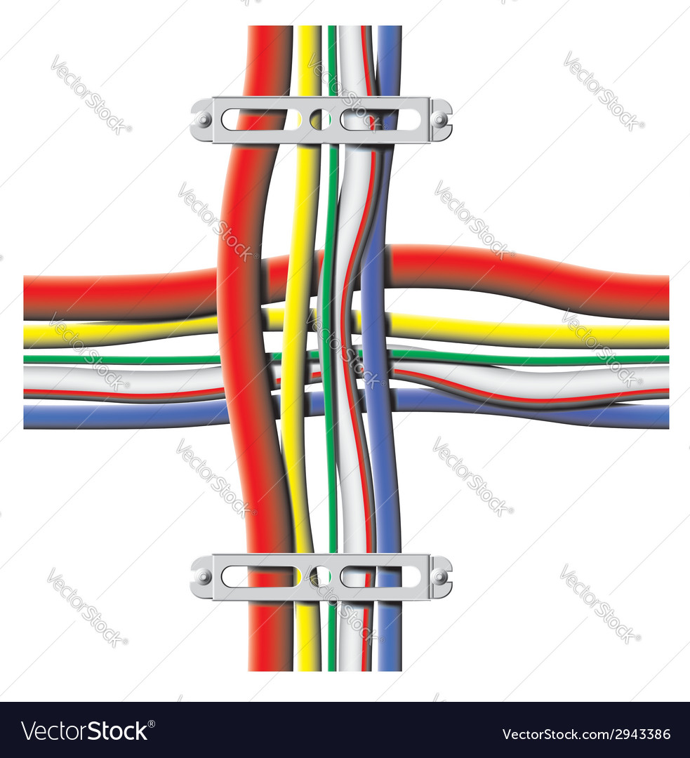 Color cables with brackets vector | Price: 1 Credit (USD $1)