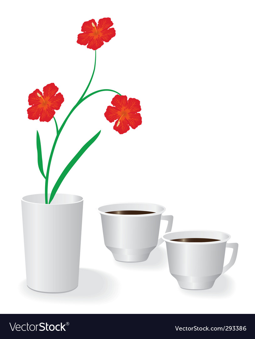 Flowers and two cups of coffee vector | Price: 1 Credit (USD $1)