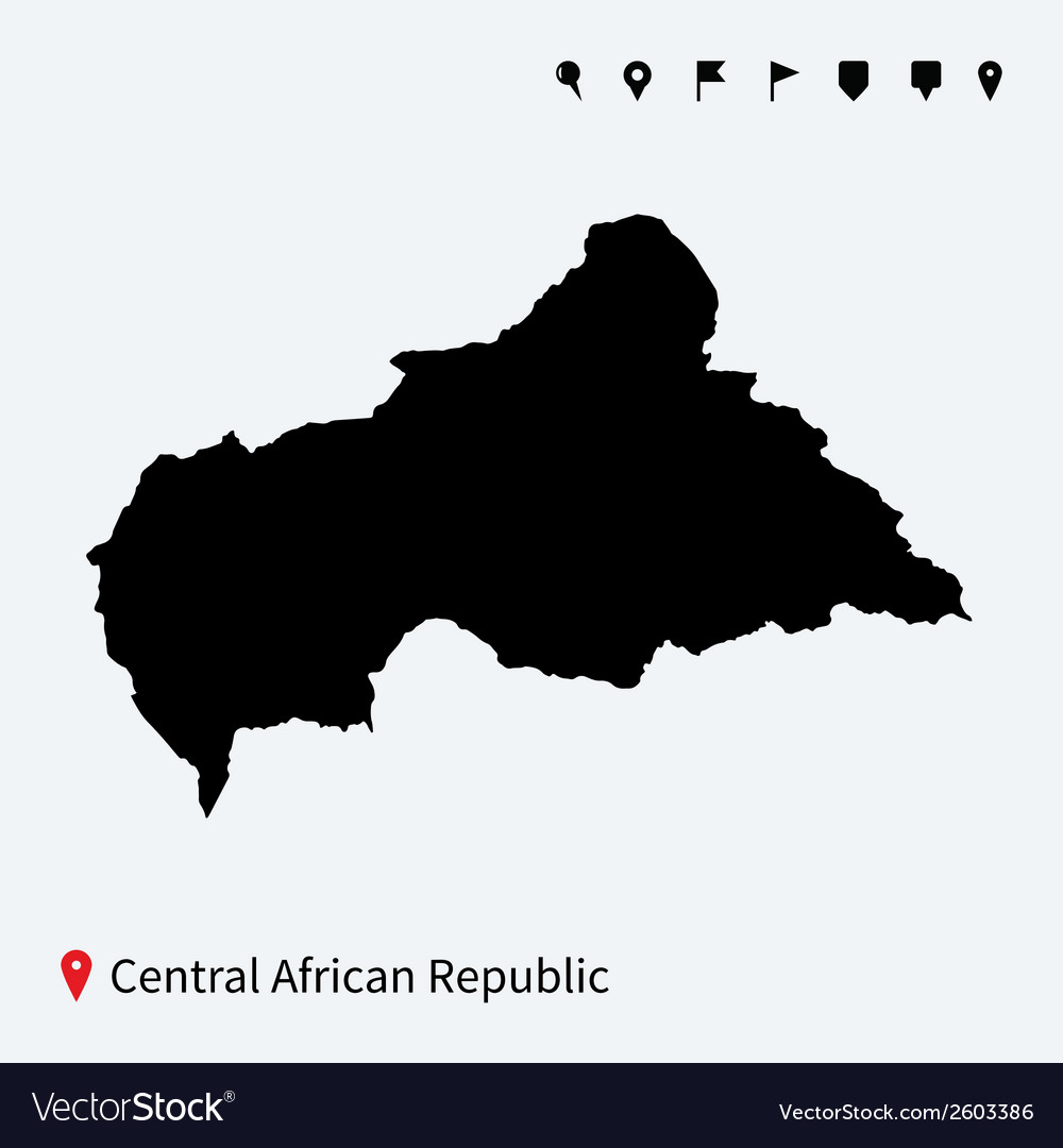 High detailed map of central african republic with vector | Price: 1 Credit (USD $1)