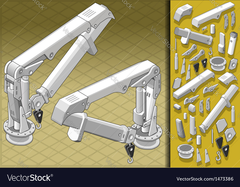 Isometric mechanical arm in two positions vector | Price: 1 Credit (USD $1)