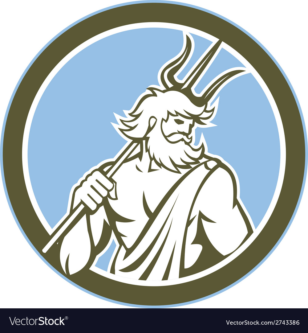 Neptune poseidon trident circle retro vector | Price: 1 Credit (USD $1)
