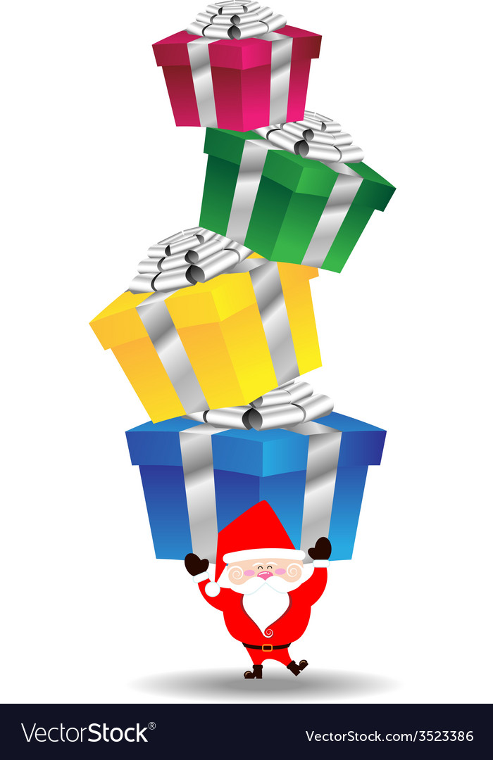 Santa claus carry heavy gift box vector | Price: 1 Credit (USD $1)