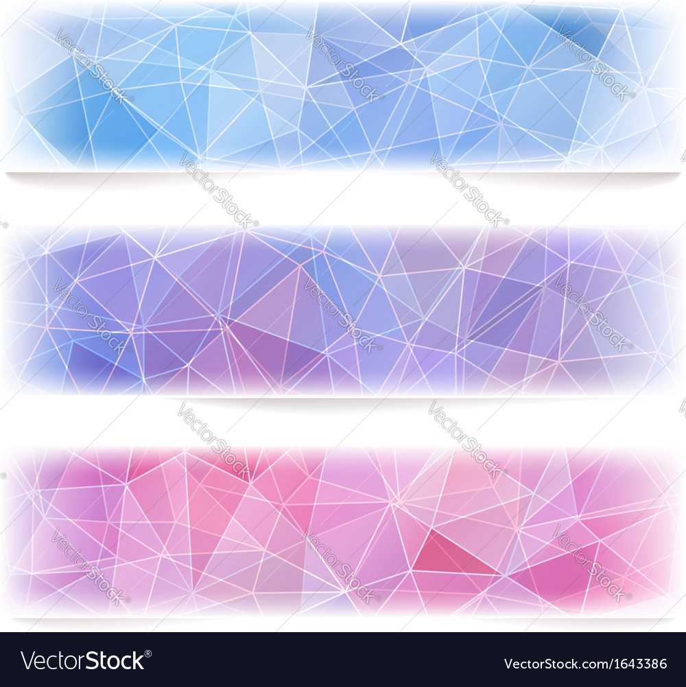 Set of geometric banners with polygonal pattern vector | Price: 1 Credit (USD $1)