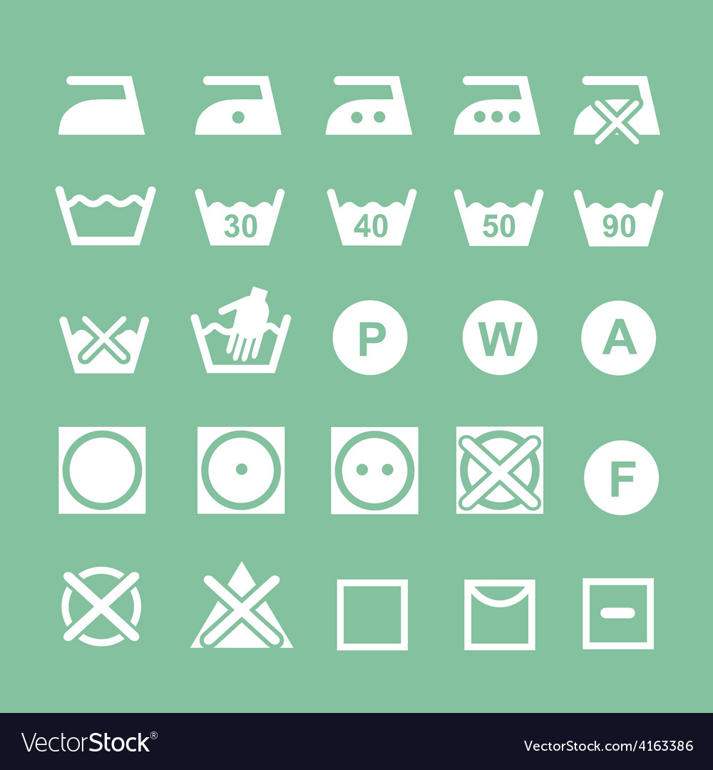Set of washing symbols washing instruction vector | Price: 1 Credit (USD $1)