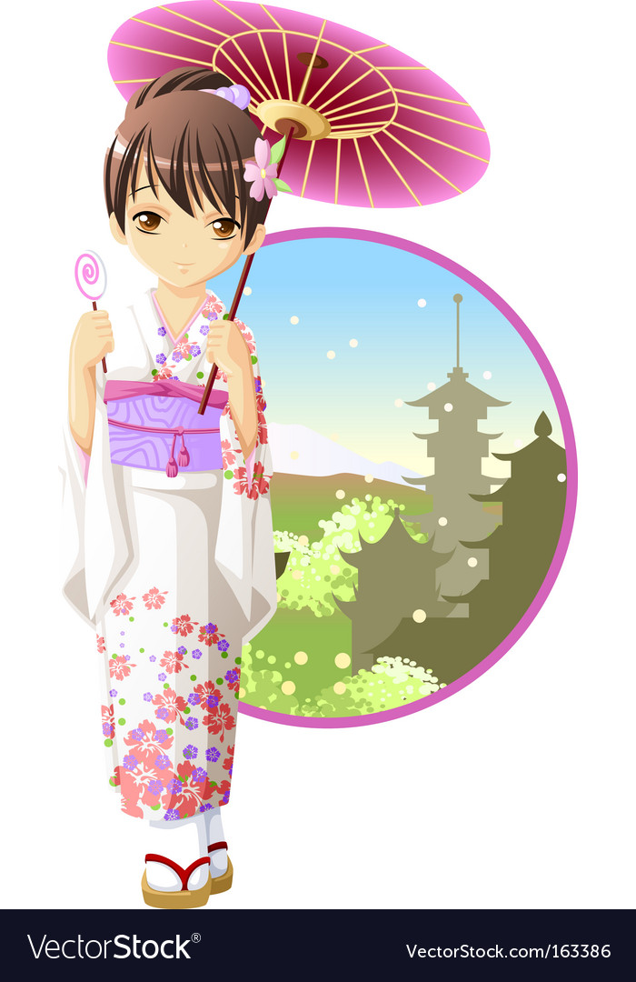 Summer kimono girl vector | Price: 3 Credit (USD $3)