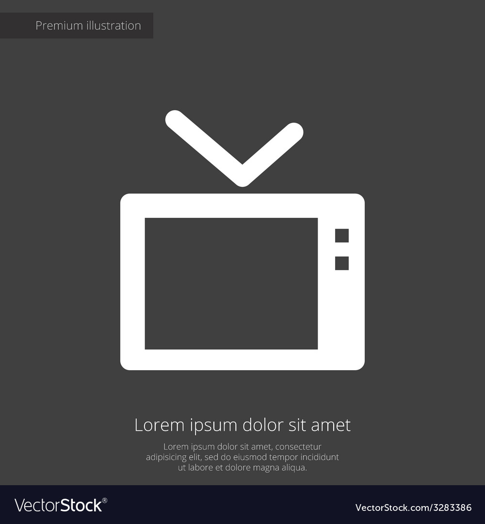 Tv premium icon white on dark background vector | Price: 1 Credit (USD $1)
