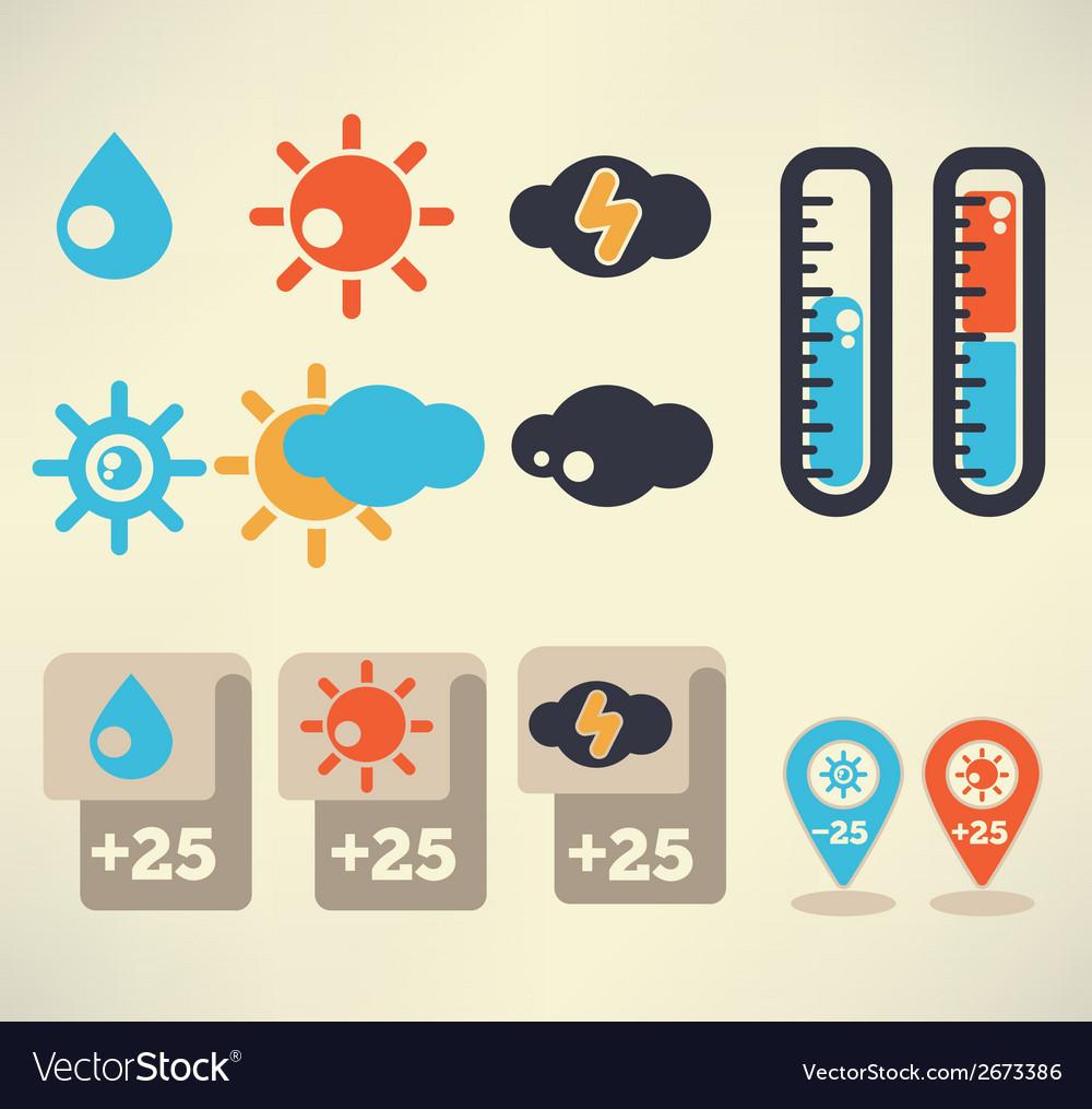 Weather symbols vector | Price: 1 Credit (USD $1)