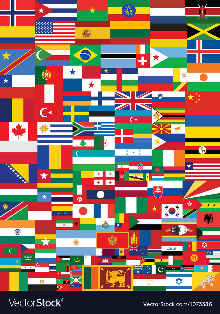 World flags background vector | Price: 1 Credit (USD $1)