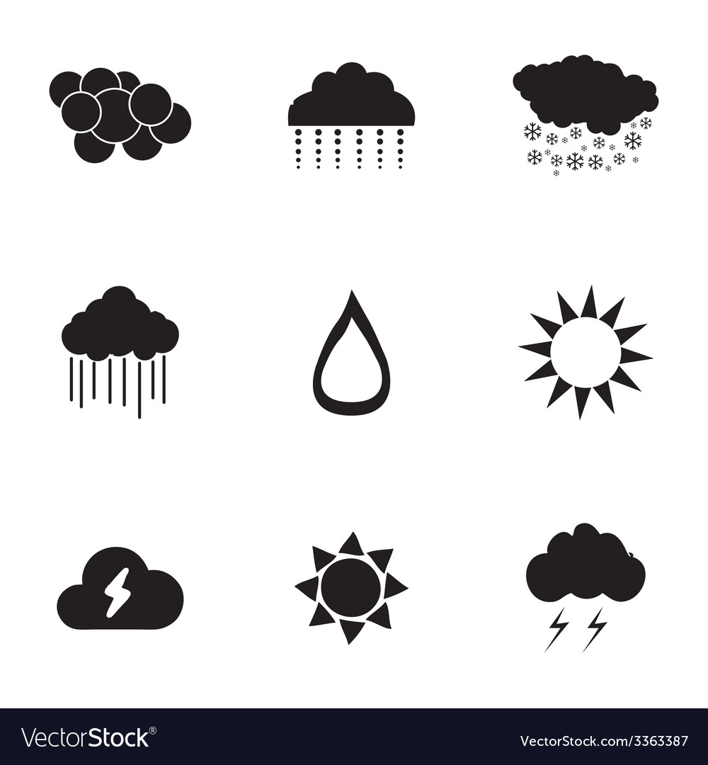 Black weather icons set vector | Price: 1 Credit (USD $1)