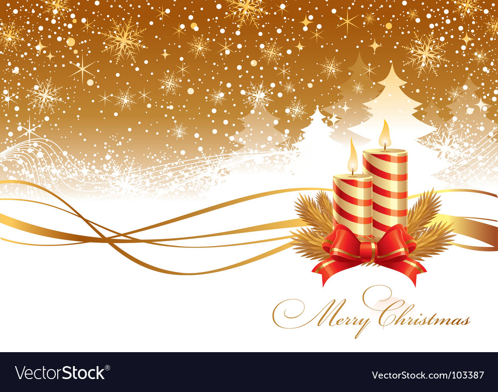 Christmas landscape and candles vector | Price: 1 Credit (USD $1)