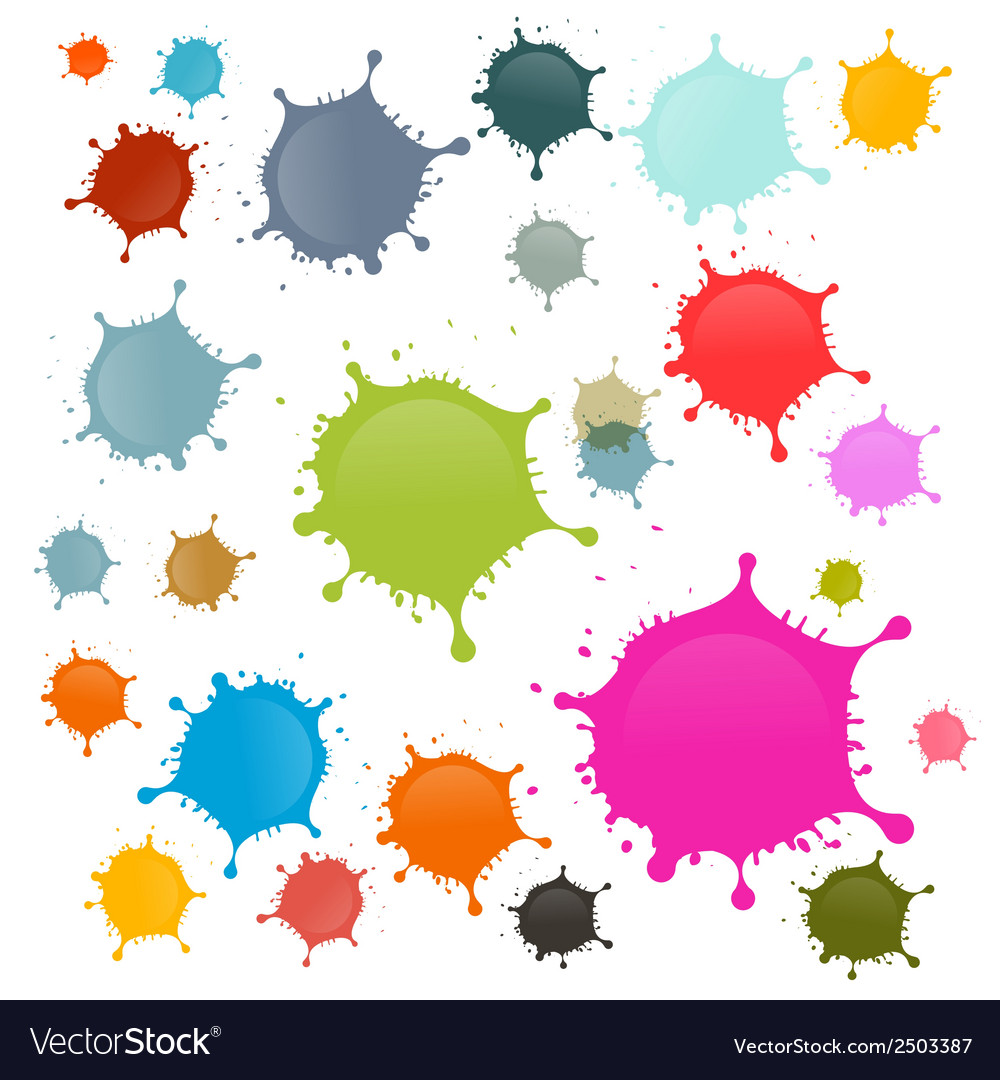 Colorful stains blots splashes set isolated on vector | Price: 1 Credit (USD $1)