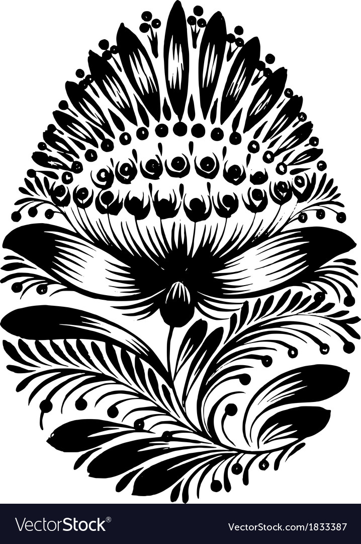 Decorative floral silhouette easter egg vector   Price: 1 Credit (USD $1)