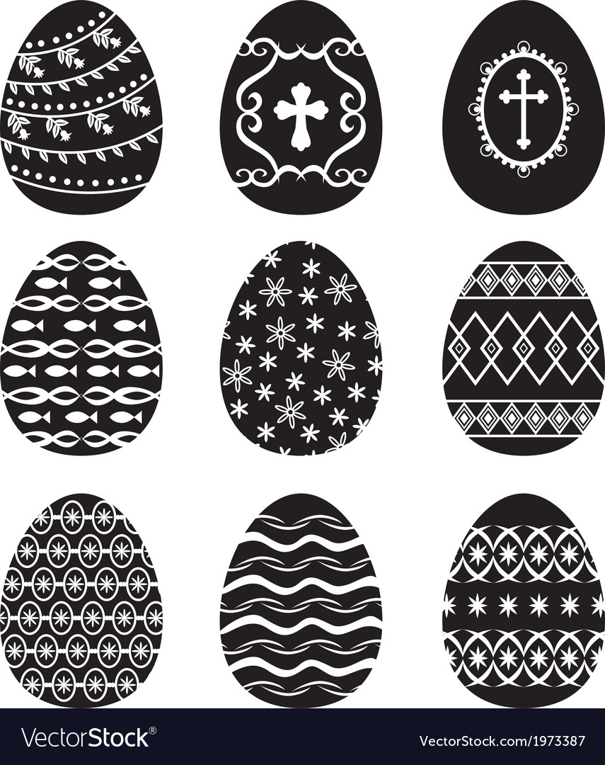 Egg set black vector | Price: 1 Credit (USD $1)