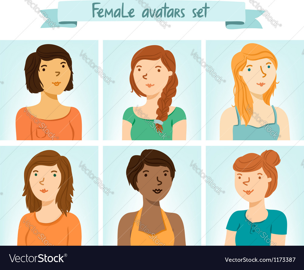 Female avatars set vector | Price: 3 Credit (USD $3)