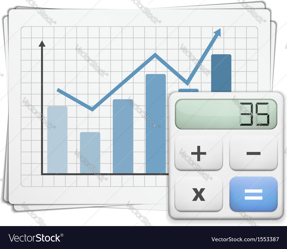 Finance graph and calculator vector | Price: 1 Credit (USD $1)