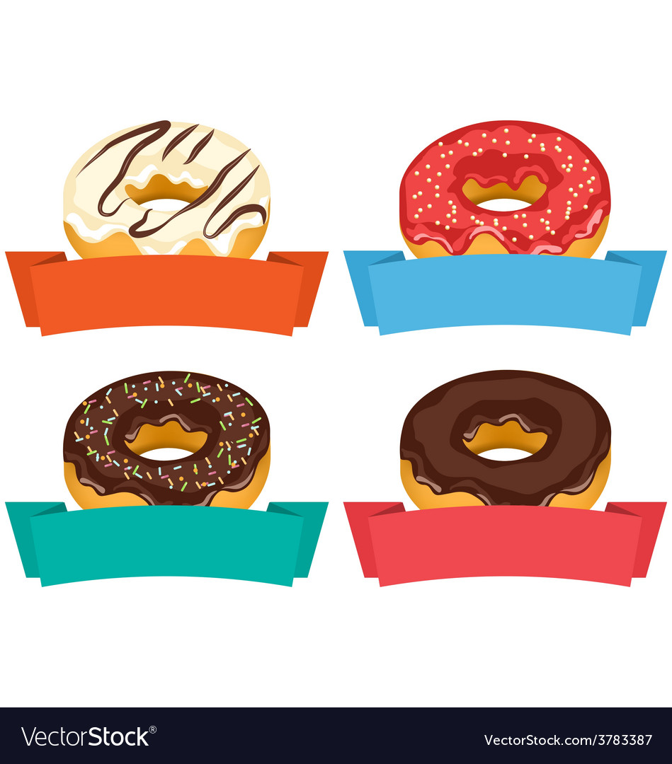 Four donuts with frames for text isolated on white vector | Price: 1 Credit (USD $1)