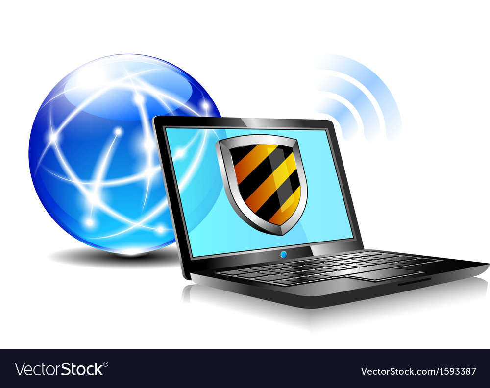 Internet globe and laptop protection vector | Price: 1 Credit (USD $1)
