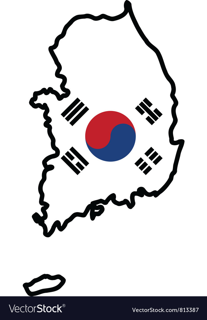 Map in colors of south korea vector | Price: 1 Credit (USD $1)