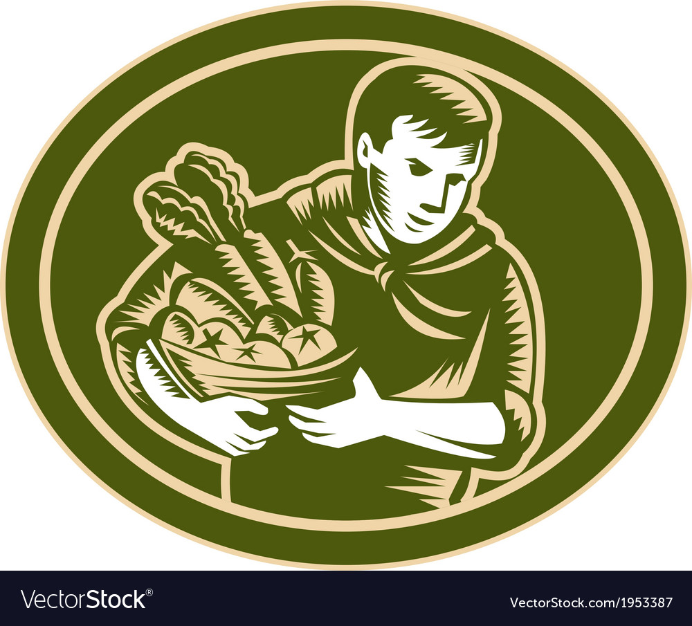 Organic farmer crop harvest woodcut vector | Price: 1 Credit (USD $1)