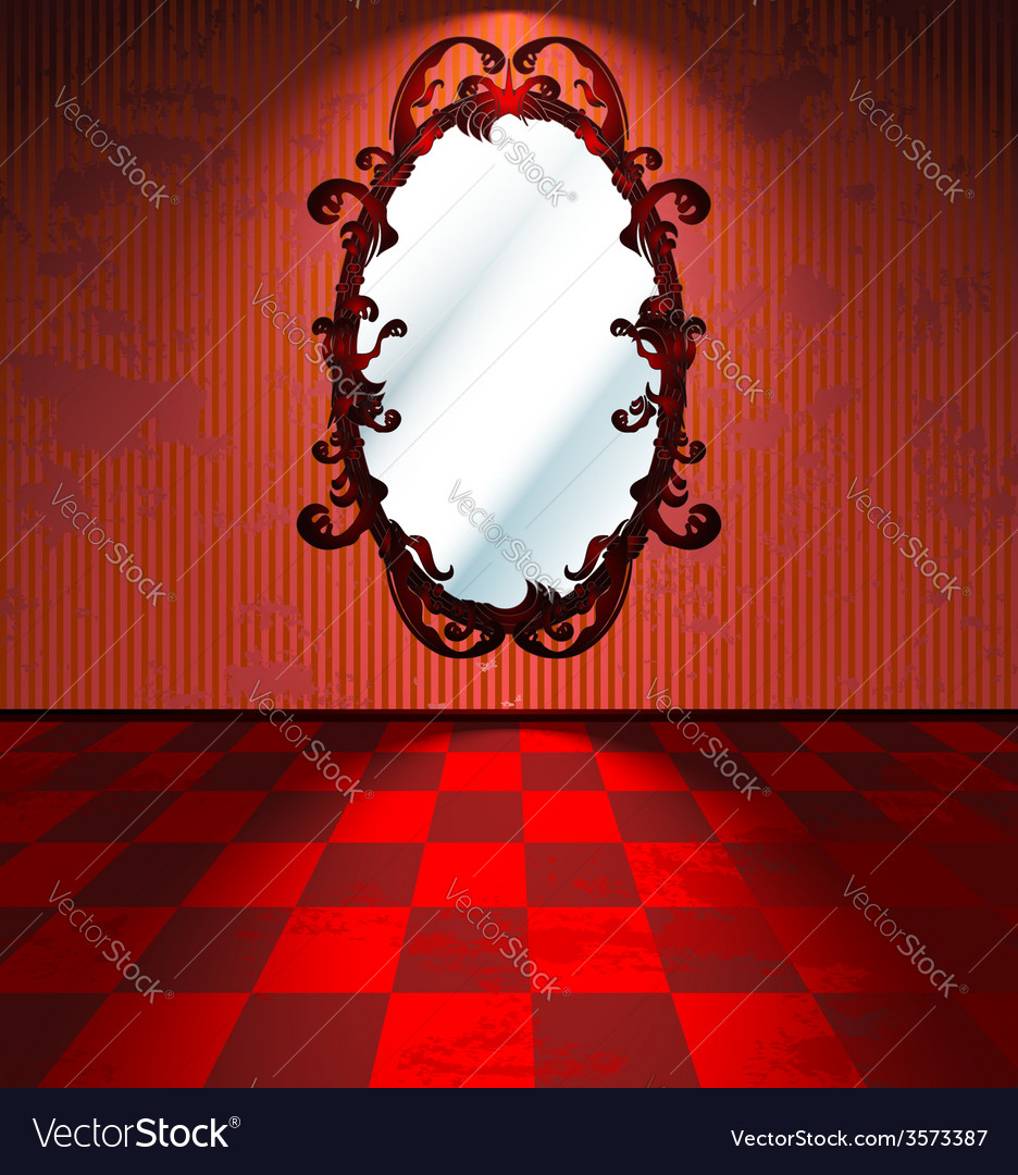 Red room with mirror vector | Price: 1 Credit (USD $1)