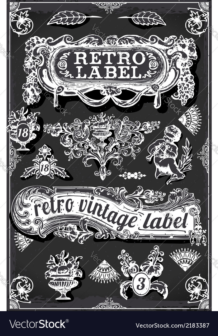 Vintage blackboard with banners and labels vector | Price: 1 Credit (USD $1)