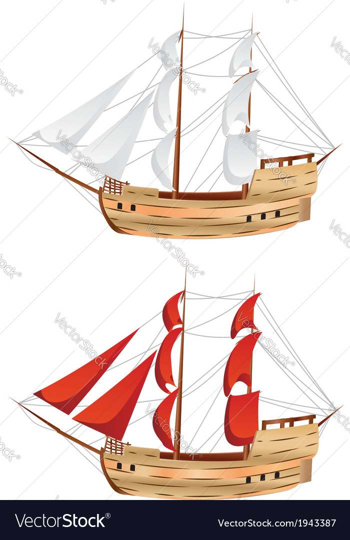 Vintage sailing ship vector | Price: 1 Credit (USD $1)