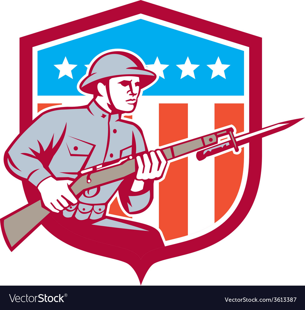 World war one soldier american retro shield vector | Price: 1 Credit (USD $1)