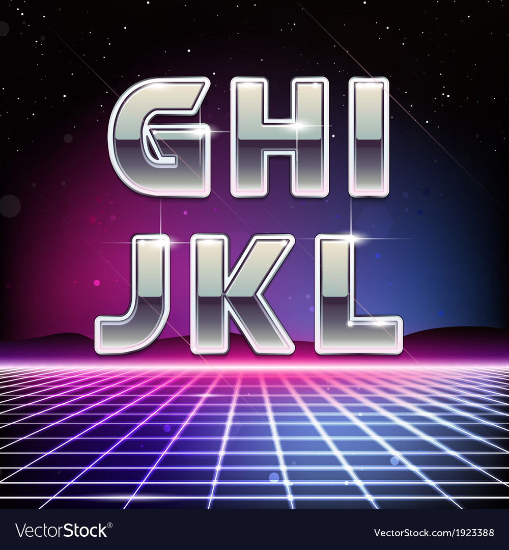 80s retro sci-fi font from g to l vector | Price: 1 Credit (USD $1)