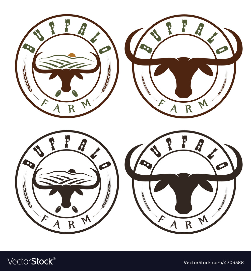 Buffalo farm vintage labels set vector | Price: 1 Credit (USD $1)