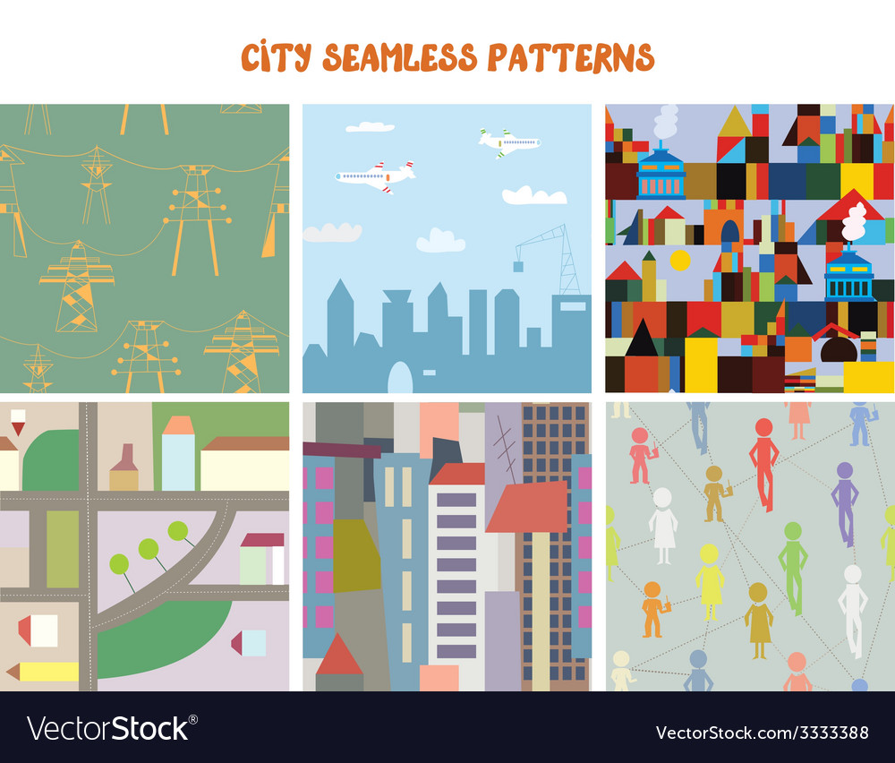 City and town seamless patterns set vector | Price: 1 Credit (USD $1)