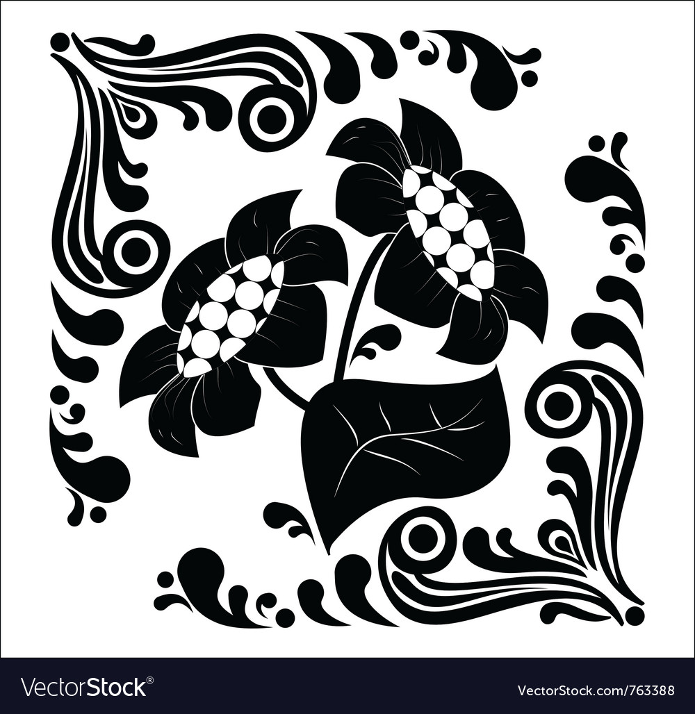Flower stencil decorative vector | Price: 1 Credit (USD $1)