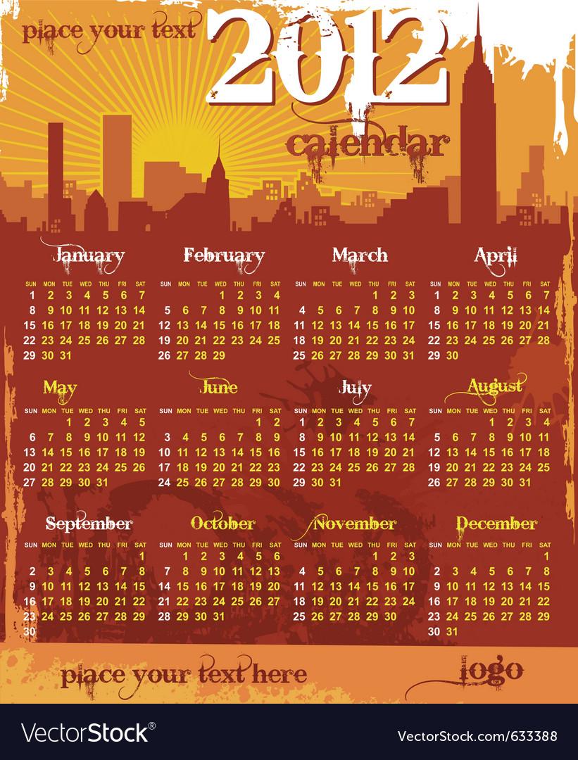 Grunge urban calendar 2012 vector | Price: 1 Credit (USD $1)