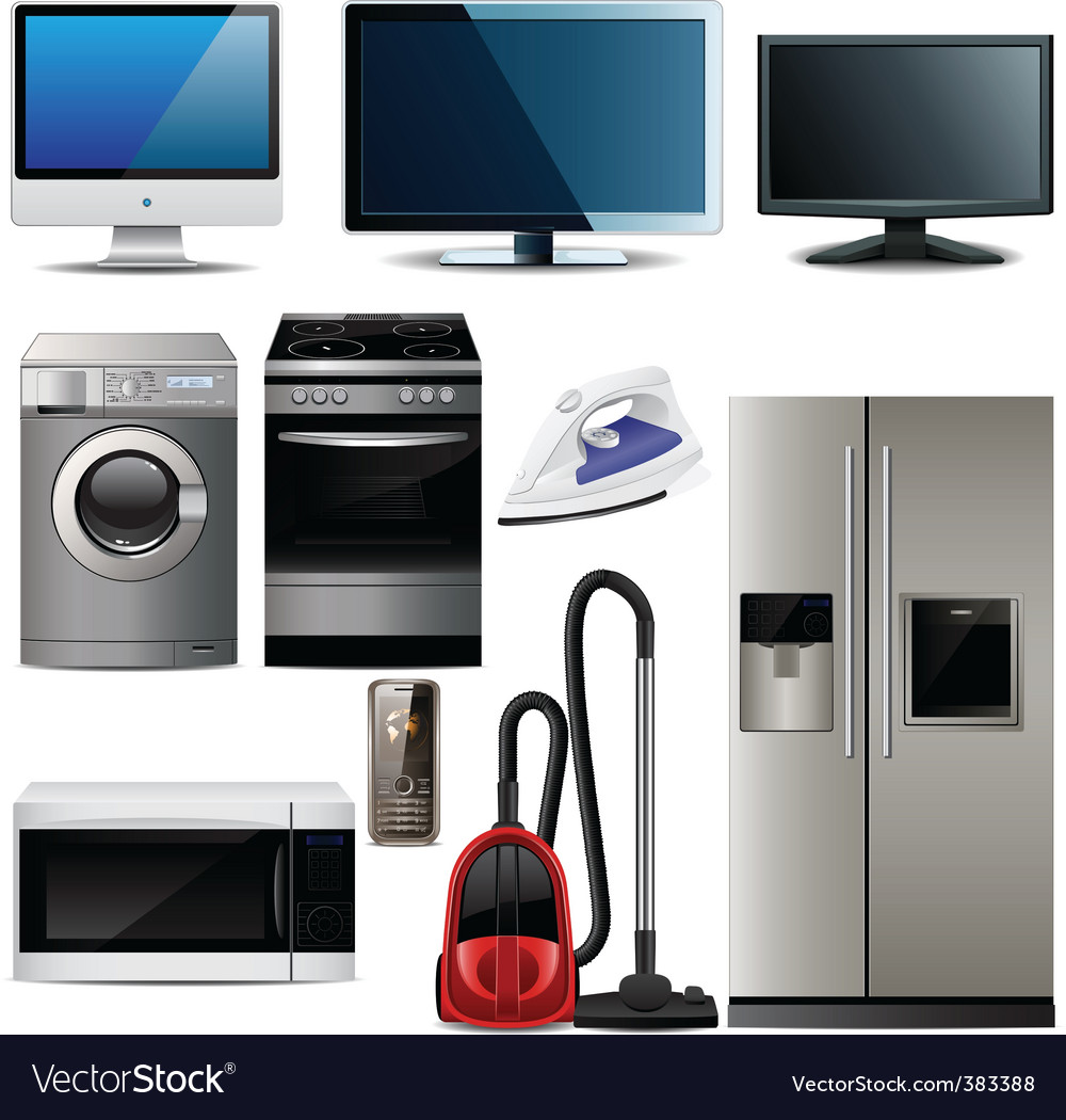 Household electronic elements vector | Price: 3 Credit (USD $3)