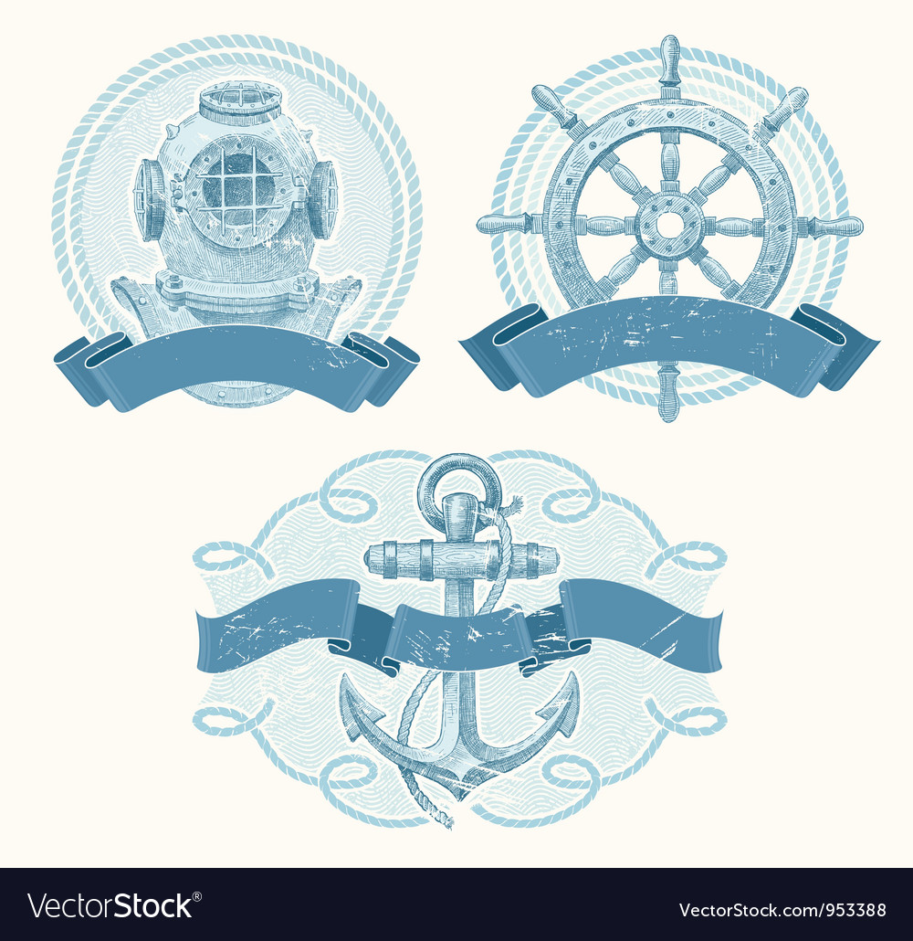 Nautical emblems with hand drawn elements vector | Price: 3 Credit (USD $3)