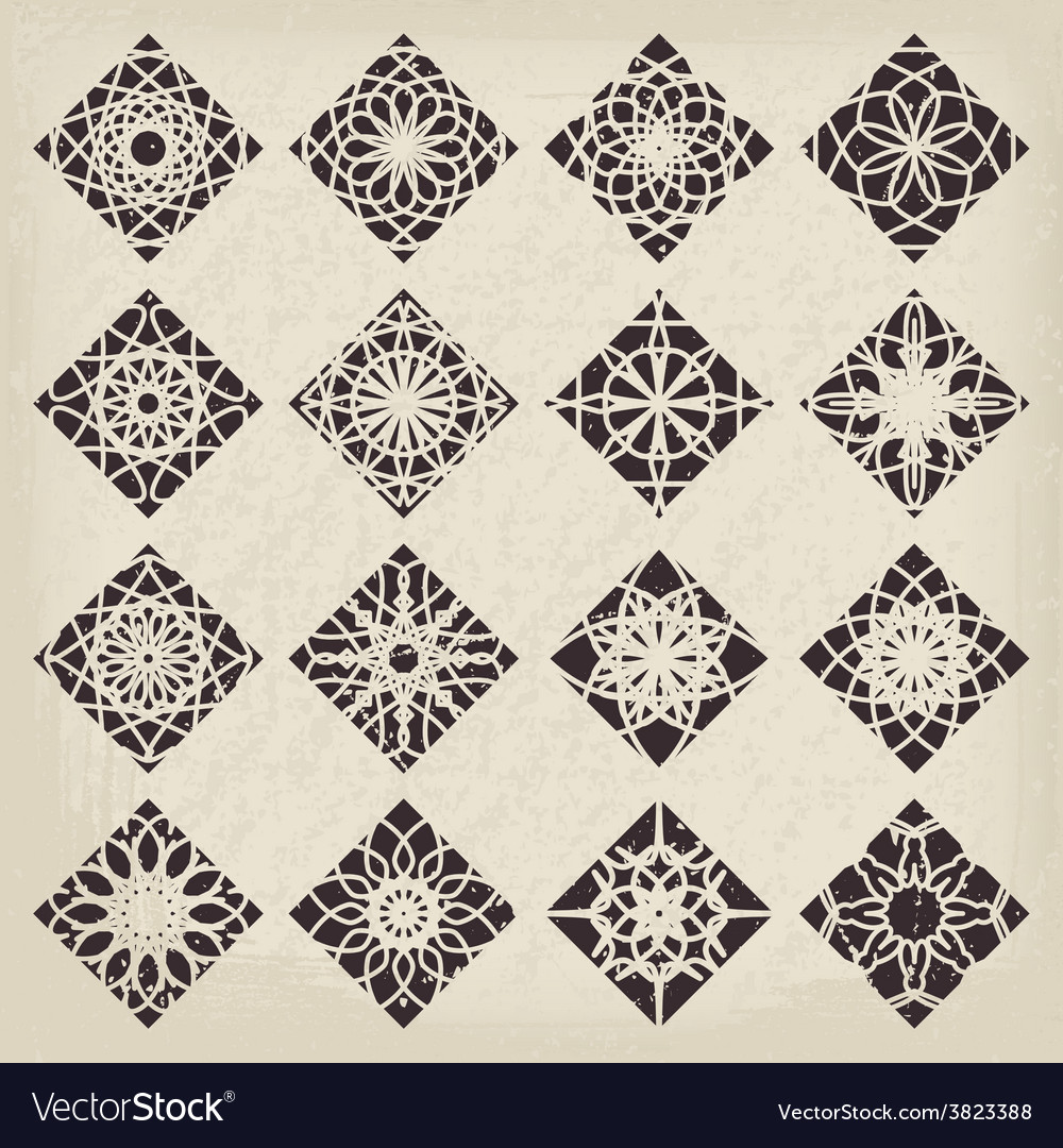 Rhombic ornament set vector | Price: 1 Credit (USD $1)