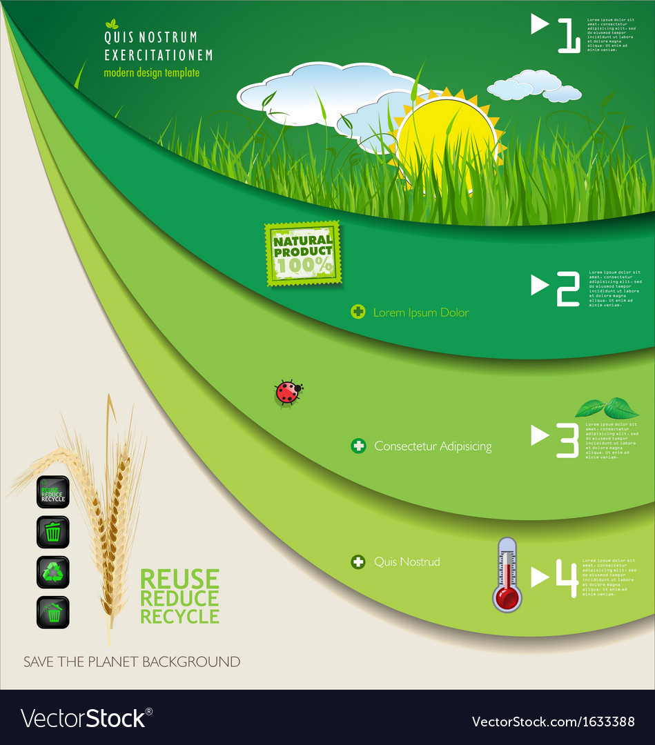 Save the planet green infographic vector | Price: 1 Credit (USD $1)