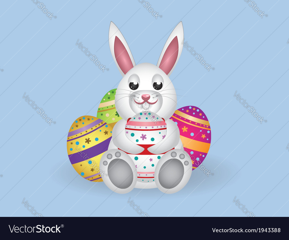 White bunny with easter eggs vector | Price: 1 Credit (USD $1)