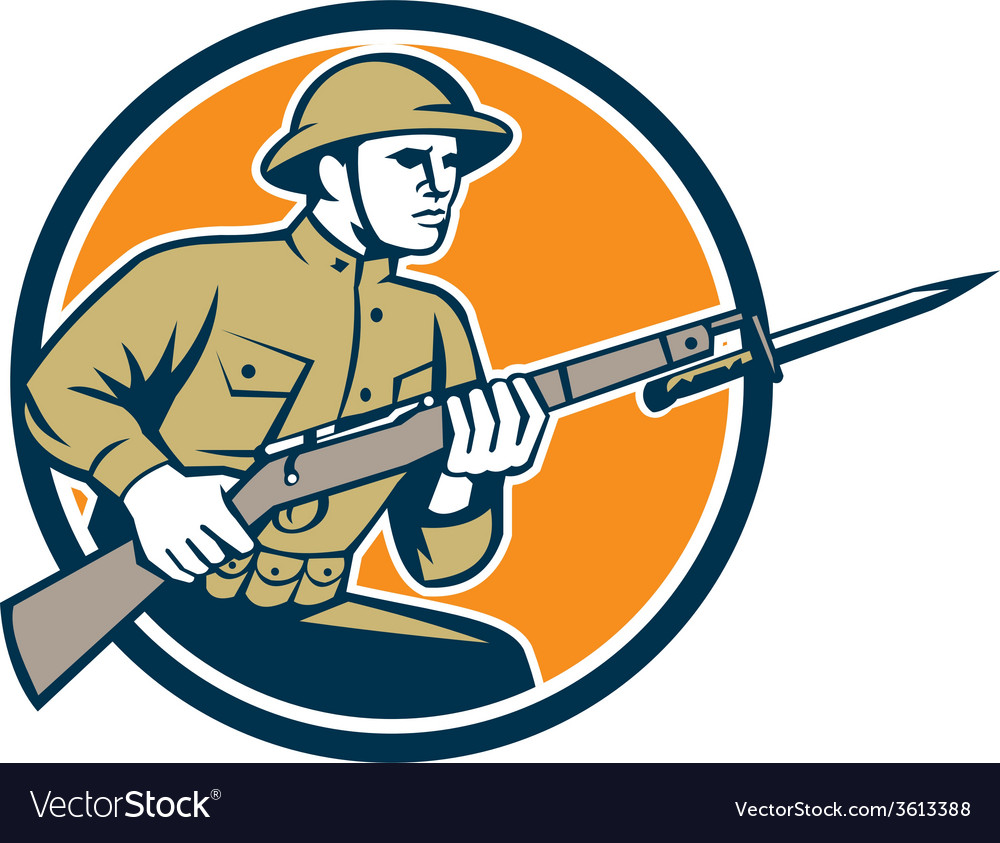 World war one soldier american retro circle vector | Price: 1 Credit (USD $1)