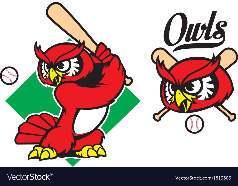 Baseball owl mascot vector   Price: 1 Credit (USD $1)