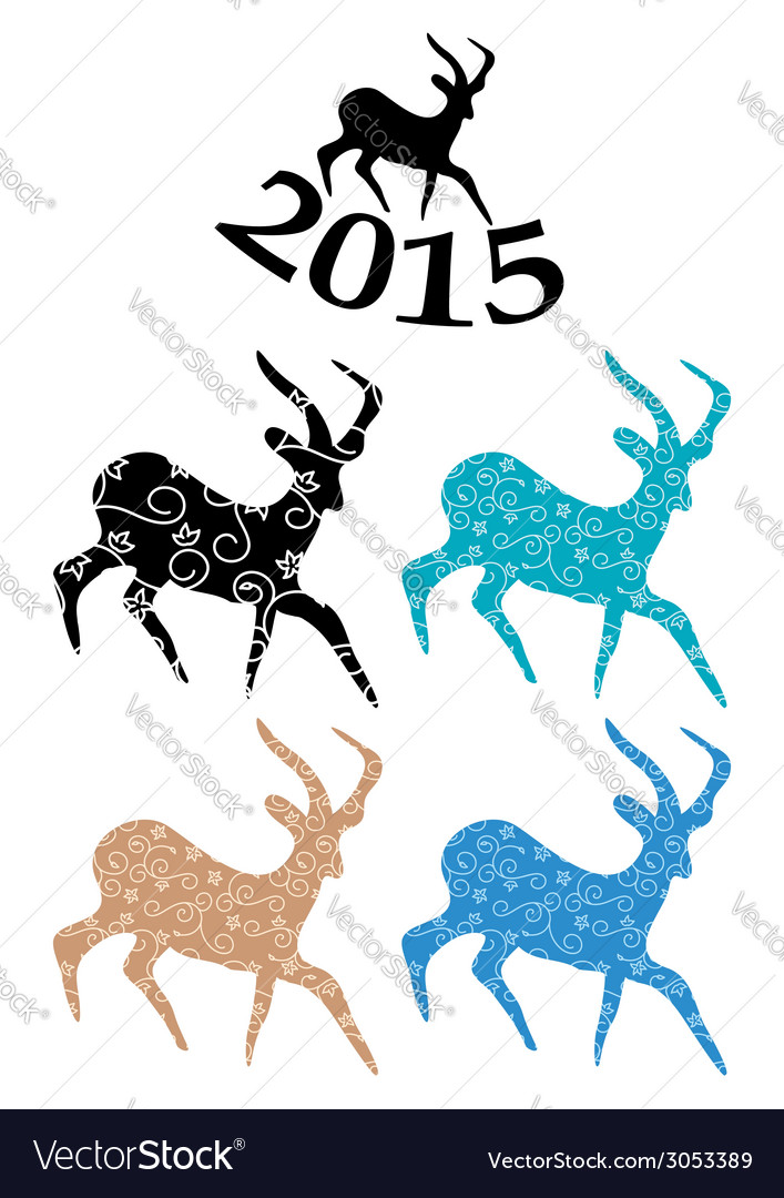 Color goats - symbol of chinese 2015 year vector | Price: 1 Credit (USD $1)