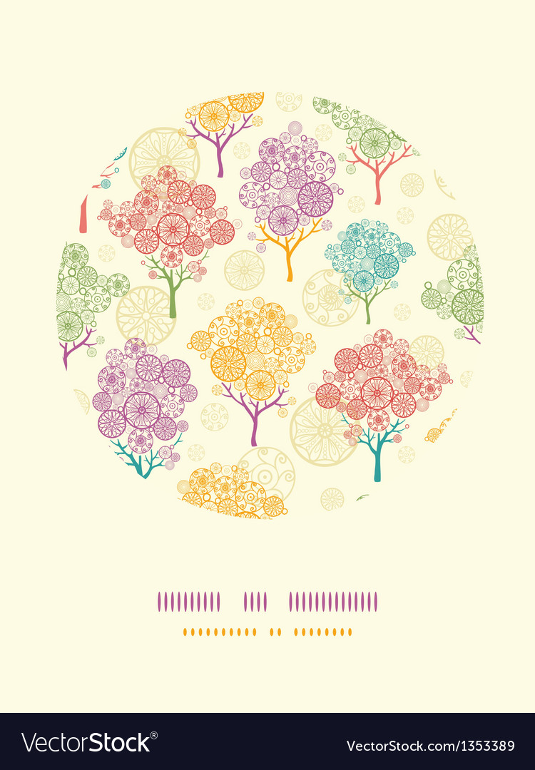 Colorful abstract trees circle decor pattern vector | Price: 1 Credit (USD $1)