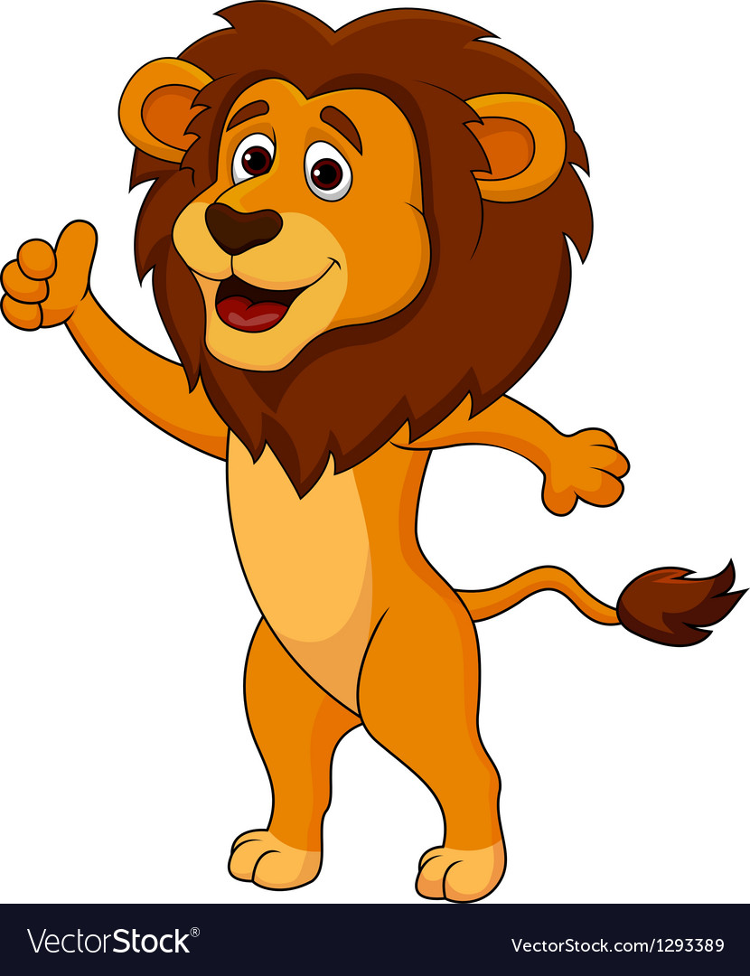 Cute lion cartoon thumb up vector | Price: 1 Credit (USD $1)