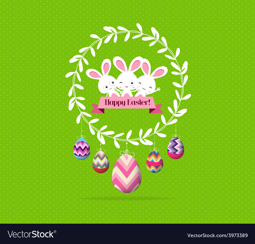 Easter eggs and bunny wreaths label greeting card vector | Price: 1 Credit (USD $1)